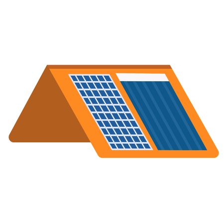 Solar heating and charging panels flat illustration. City objects and energy system series. Archivio Fotografico - 123912985