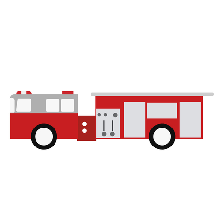 Fire truck flat illustration. City life and everyday objects series. 일러스트