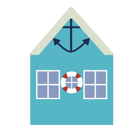 Beach building flat illustration