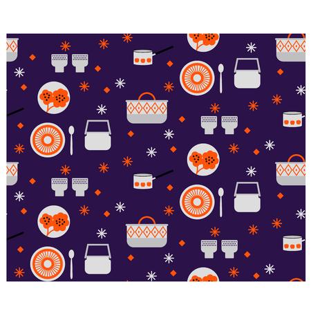 Kitchen pattern flat illustration