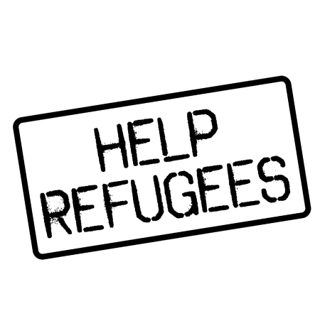 HELP REFUGEES stamp on white. Stamps and advertisement labels series. Çizim