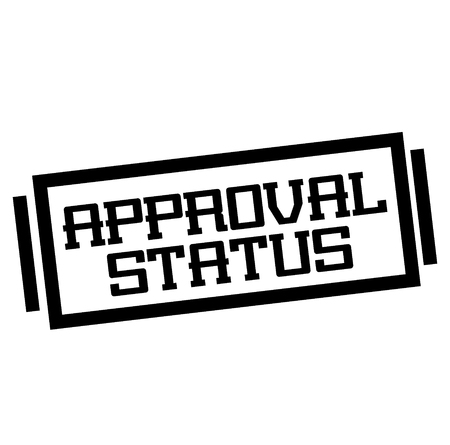 APPROVAL STATUS stamp on white. Stamps and advertisement labels series.