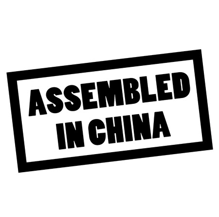 ASSEMBLED IN CHINA stamp on white. Stamps and advertisement labels series. Ilustração