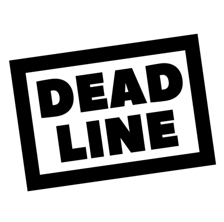 DEAD LINE stamp on white. Stamps and advertisement labels series. Illustration