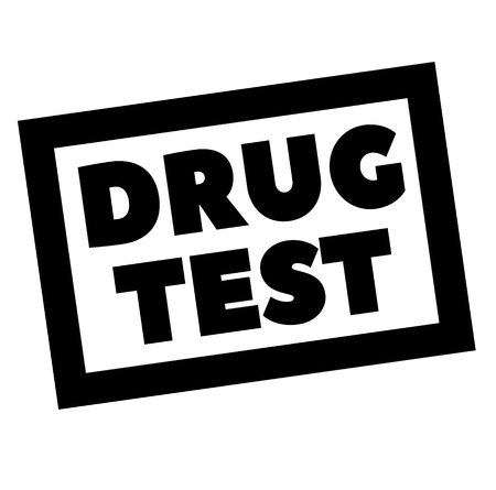 DRUG TEST stamp on white. Stamps and advertisement labels series. Illustration