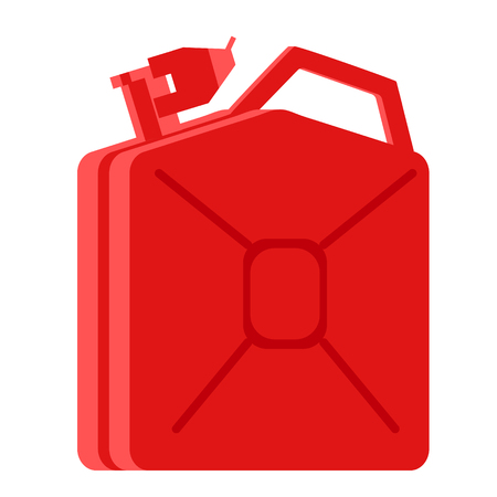 Red jerry can flat illustration. City objects and energy system series. Ilustrace