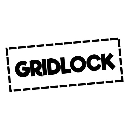 GRIDLOCK stamp on white. Stamps and advertisement labels series.