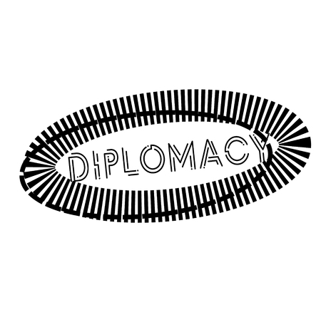 DIPLOMACY stamp on white. Stamps and advertisement labels series.