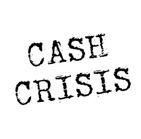 CASH CRISIS stamp on white. Stamps and advertisement labels series.