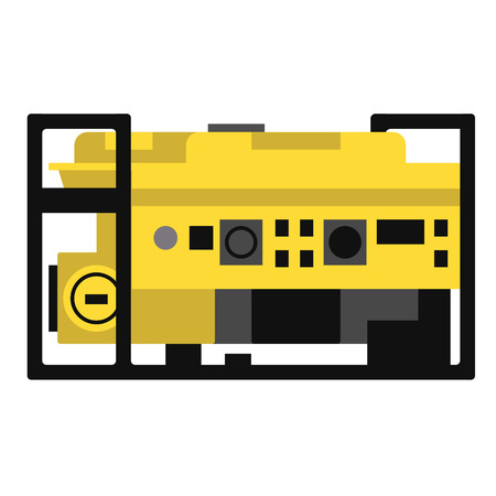 Generator flat illustration. City objects and energy system series. Illustration
