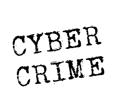 CYBER CRIME stamp on white. Stamps and advertisement labels series.