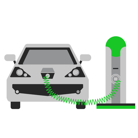 Charging car flat illustration. City objects and energy system series. Иллюстрация