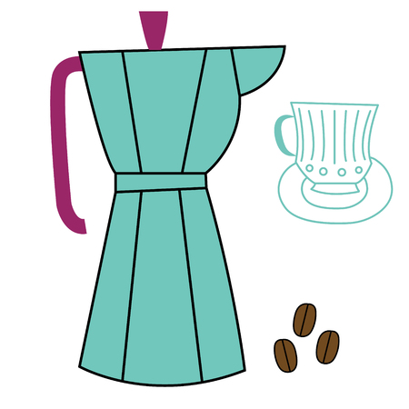 Coffee set flat illustration. Home and kitchen series.