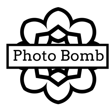 PHOTO BOMB stamp on white background. Signs and symbols series.