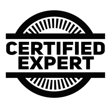 CERTIFIED EXPERT stamp on white background. Signs and symbols series.