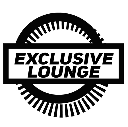 EXCLUSIVE LOUNGE stamp on white background. Signs and symbols series.