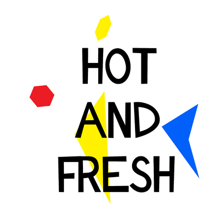 HOT AND FRESH stamp on white background. Signs and symbols series.