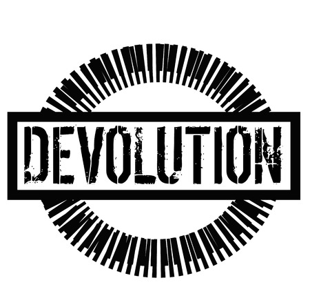 DEVOLUTION stamp on white background. Signs and symbols series.