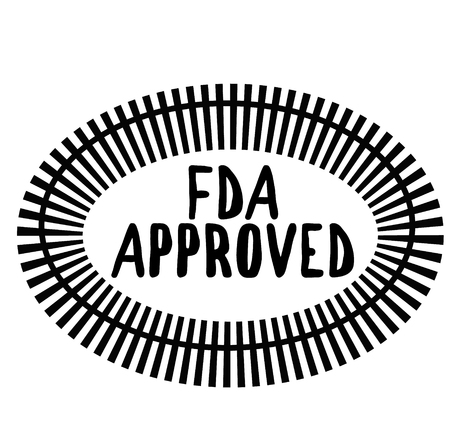 FDA APPROVED stamp on white background. Signs and symbols series.