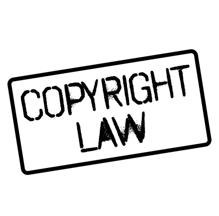 COPYRIGHT LAW stamp on white. Stamps and advertisement labels series.