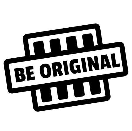 BE ORIGINAL stamp on white. Stamps and advertisement labels series.