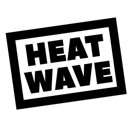 HEAT WAVE stamp on white. Stamps and advertisement labels series.