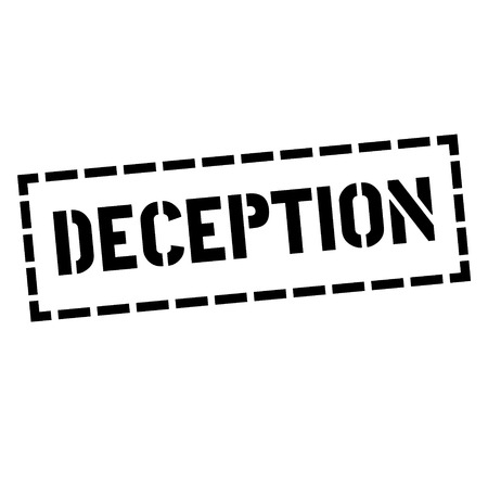DECEPTION stamp on white. Stamps and advertisement labels series.