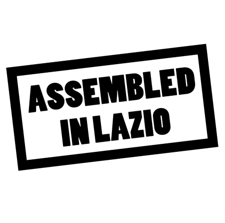 ASSEMBLED IN LAZIO stamp on white. Stamps and advertisement labels series.