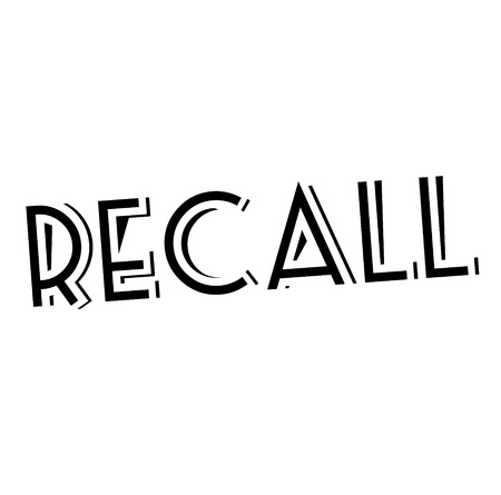RECALL stamp on white. Stamps and advertisement labels series.