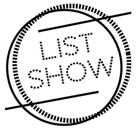 LIST SHOW stamp on white. Stamps and advertisement labels series.