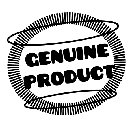 GENUINE PRODUCT stamp on white. Stamps and advertisement labels series.