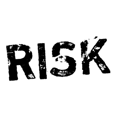 RISK stamp on white. Stamps and advertisement labels series.