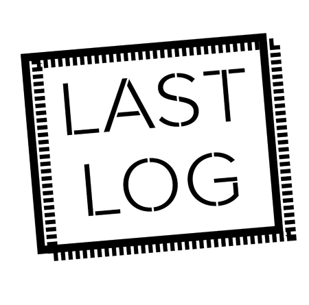 LAST LOG stamp on white. Stamps and advertisement labels series.
