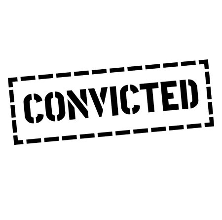CONVICTED stamp on white. Stamps and advertisement labels series.