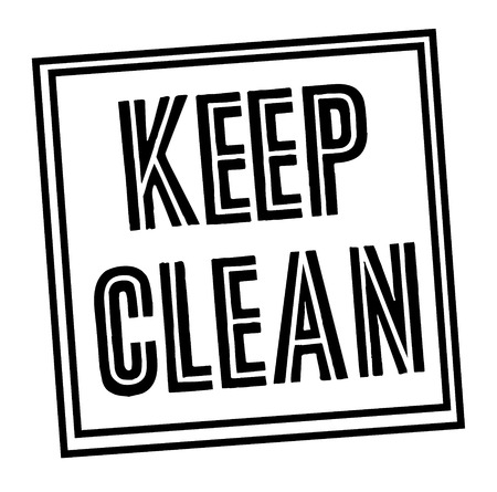 KEEP CLEAN stamp on white
