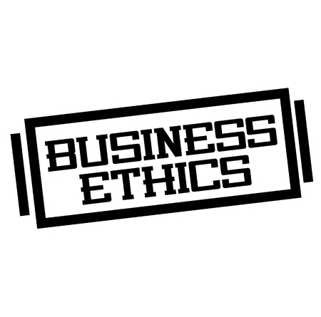 BUSINESS ETHICS stamp on white