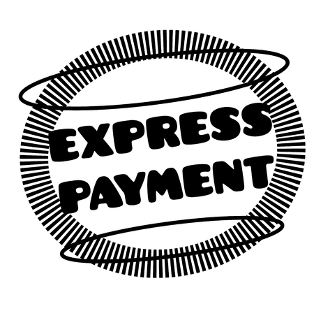 EXPRESS PAYMENT stamp on white Çizim