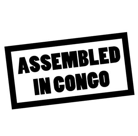 ASSEMBLED IN CONGO stamp on white. Stamps and advertisement labels series.