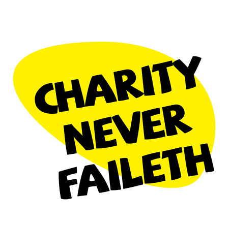 CHARITY NEVER FAILETH stamp on white