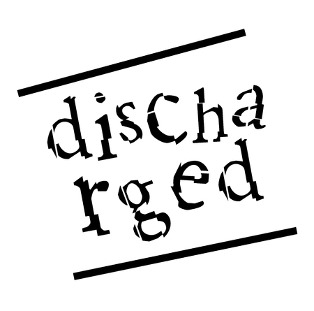 DISCHARGED stamp on white background Stock Illustratie