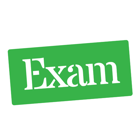 EXAM stamp on white background