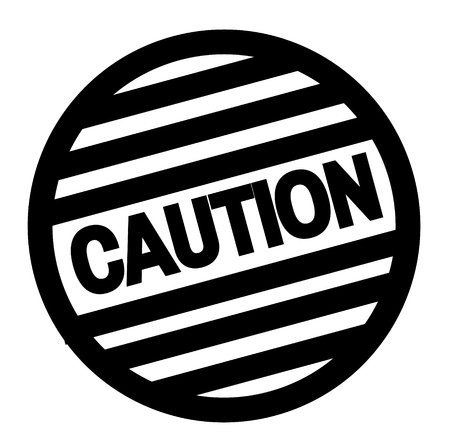 CAUTION stamp on white. Stamps and labels series.
