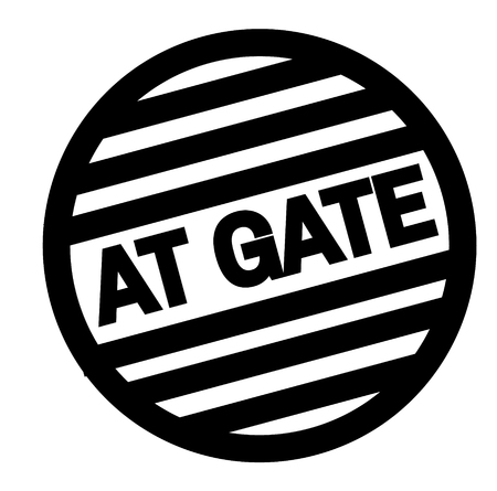 AT GATE stamp on white isolated