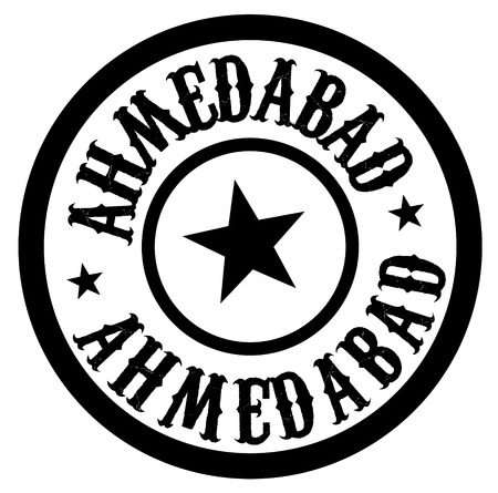 AHMEDABAD stamp on white isolated