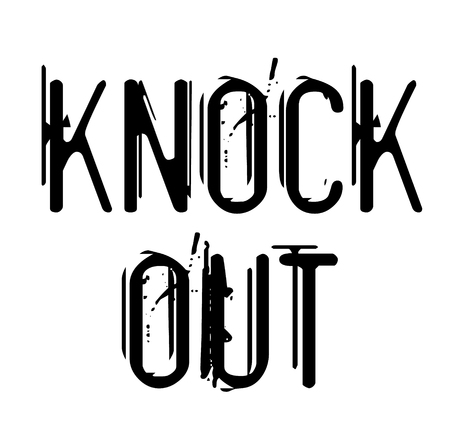 KNOCK OUT stamp on white isolated