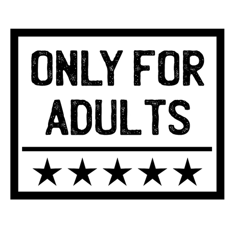ONLY FOR ADULTS stamp on white isolated