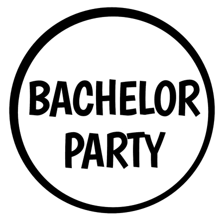 BACHELOR PARTY stamp on white isolated Banque d'images - 124730403