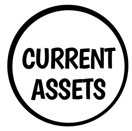 CURRENT ASSETS stamp on white isolated