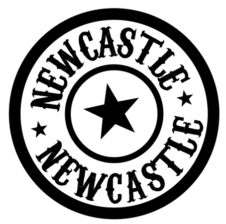 NEWCASTLE stamp on white isolated Stock Illustratie