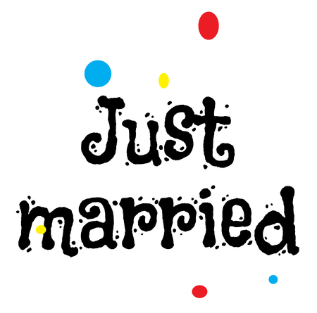 JUST MARRIED stamp on white isolated